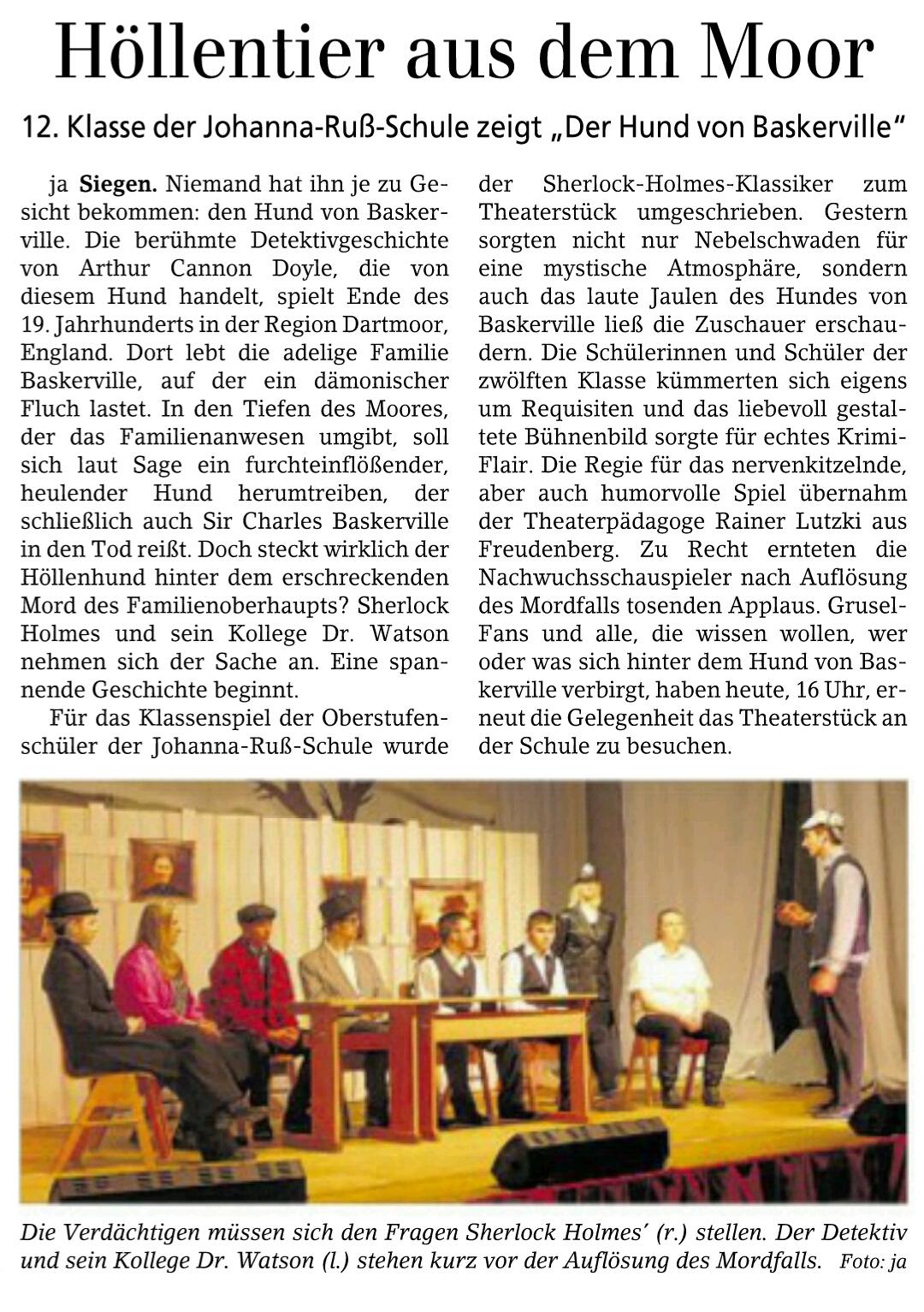 Bericht der Siegener Zeitung